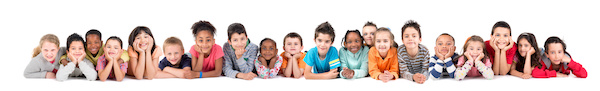 Large group of children posing isolated in white all sheltering at home during these times resilience tree.com