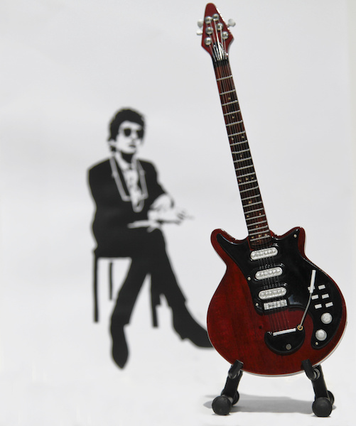 Picture of Bob Dylan seated with a Guitar on a stand in the foreground for resilience tree.com
