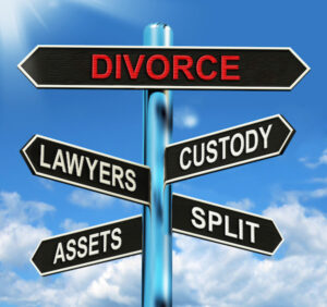 Signpost shows divorce, lawyers,split,assets, custody doe Gray Divorde